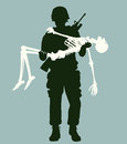 Soldier carrying skeleton editable vector illustration of a a in his arms Stock Photo