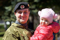Soldier with a child may beloretsk bashkortostan russia happy young man in camouflage uniform in her arms Stock Image