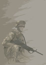 Soldier in combat position,