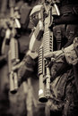 Soldier in formation with armo assault rifle at war Stock Photography