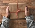 Soldier Holding Parcel Royalty Free Stock Photo