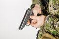 Soldier holding a russian 9mm handgun PM Makarov. Training of Royalty Free Stock Photo
