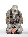 Soldier kneeling Royalty Free Stock Photo