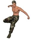 Soldier Leaping Stock Image