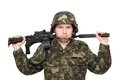 Soldier with m16 on the shoulders Royalty Free Stock Image