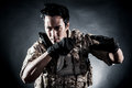 Soldier man hold knife fashion Royalty Free Stock Photo