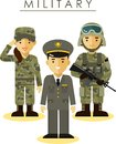 Soldier man and woman in different military officer camouflage uniform flat style Royalty Free Stock Photo