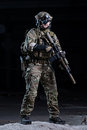 Soldier with night vision device and rifle