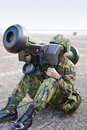 Soldier operates missile launcher Stock Photo