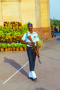 Soldier in parade uniform guards