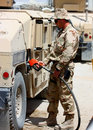 A soldier refueling a vehicle Stock Photos