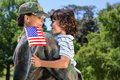 Soldier reunited with her son Royalty Free Stock Photo