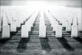 Soldier s passage manipulated black and white image of white gravestones in a military cemetery with bright white light conveying Stock Photo