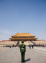 Soldier stands guard at the forbidden city beijing was chinese imperial palace from ming dynasty to end of qing dynasty it is Royalty Free Stock Photos