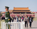Soldier stands guard at tiananmen beijing people s armed police standing in front of gate of heavenly peace in china Royalty Free Stock Image