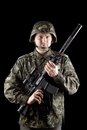 Soldier staying with m16 Royalty Free Stock Photography