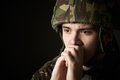 Soldier In Uniform Suffering From Stress Royalty Free Stock Photo