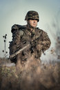 Soldier at war in the swamp Royalty Free Stock Photo