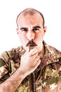 Soldier with whistle Royalty Free Stock Photo