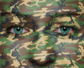 Soldier woodland camouflage painted on woman a face army concept Stock Image