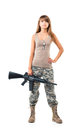 Soldier young beautiful girl dressed in a camouflage with a gun his hand on white background Royalty Free Stock Photo