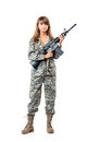 Soldier young beautyful girl dressed in a camouflage with a gun his hand on white background Stock Photos