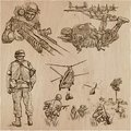 Soldiers, Army - An hand drawn vector collection. Warriors around the World. Freehand sketching, hand drawing.