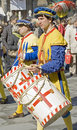 Soldiers drumming.historical music band.florence Royalty Free Stock Images