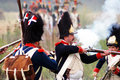Soldiers fight in fume borodino battle historical reenactment taken borodino moscow region russia on september Royalty Free Stock Images