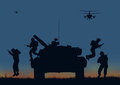 The soldiers going to attack and helicopters. Royalty Free Stock Photo