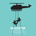 Soldiers Jump From a Helicopter Royalty Free Stock Photo