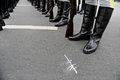 Soldiers in line formation feet standing during the rehearsal for a military parade Stock Photography