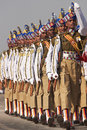 Soldiers marching in bright blue headdress parading down the raj path in preparation for the annual republic day parade in new Stock Photo