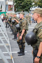 Soldiers of the National Guard of Ukraine to maintain order during religious procession parishioners Ukrainian Orthodox Church Mos
