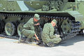 The soldiers paint military equipment kubinka moscow oblast russia jun preparation of exhibition international technical forum Stock Photo