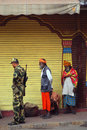 Soldiers and pilgrims, Jammu, India Royalty Free Stock Photo