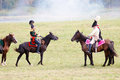 Soldiers reenactors ride brown horses profile portrait moscow region september two dressed as napoleonic war public tribunes are Stock Photos