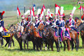 Soldiers reenactors ride horses moscow region september two dressed as napoleonic war borodino historical reenactment Royalty Free Stock Photography