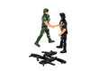 The soldiers shake hands handshaking isolated on white disarmament a truce not war a toys Stock Photos