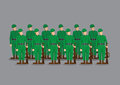Soldiers Standing at Attention Vector Illustration Royalty Free Stock Photo