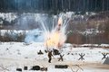 Soldiers under the explosions russia lizlovo december unidentified on reenactment of counterattack moscow in in world Royalty Free Stock Images