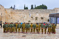Soldiers at the wailing wall jerusalem israel a group of israeli Royalty Free Stock Images