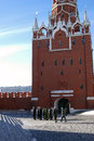 Soldiers walk in Moscow Kremlin. UNESCO World Heritage Site. Royalty Free Stock Photo