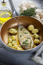 Sole fish with potatoes Royalty Free Stock Image