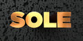 Sole - Gold text on black background - 3D rendered royalty free stock picture