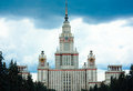 Solemn moscow university grey skies above the main of russian capital state Stock Image