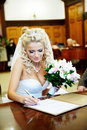 Solemn registration of marriage in Wedding Palace Royalty Free Stock Photography