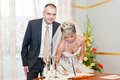 Solemn registration of marriage in the wedding palace Royalty Free Stock Photography