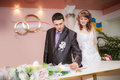 Solemn registration of marriage in the wedding palace Stock Images