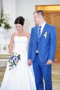 Solemn registration of newlyweds in wedding palace Stock Photo